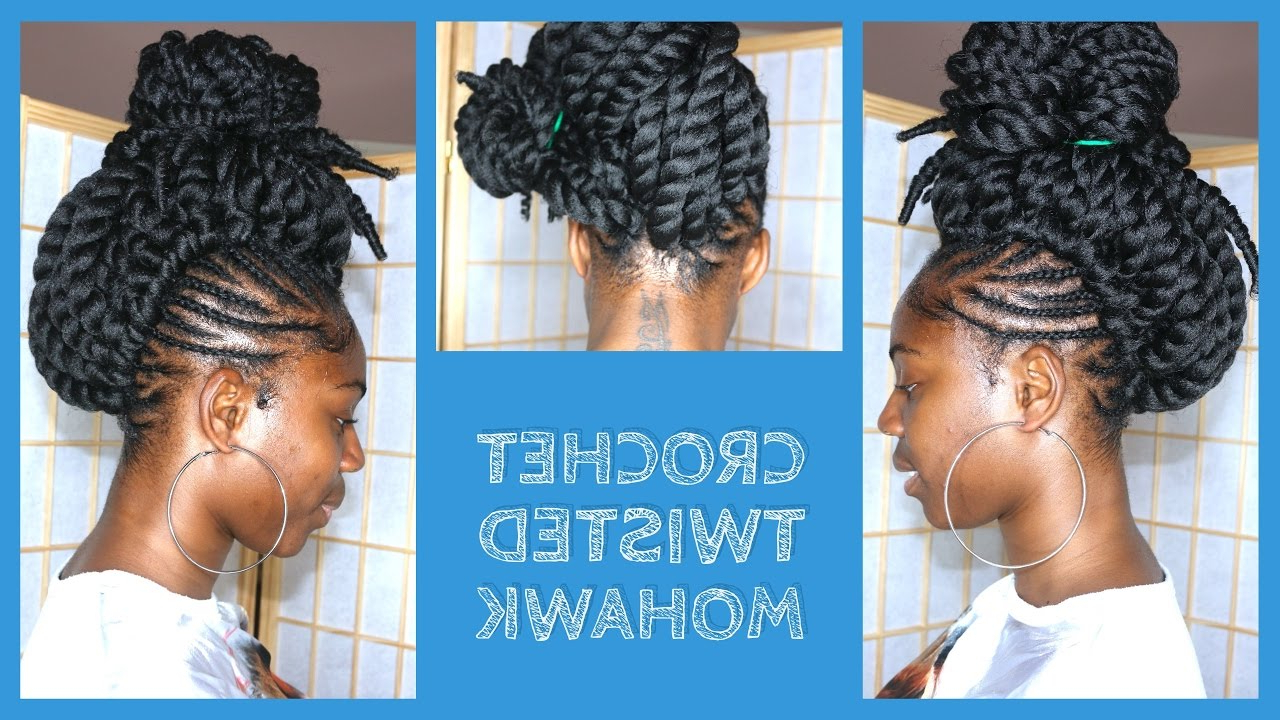 Most Up To Date Braids And Twists Fauxhawk Hairstyles Intended For Crochet Braids Mohawk With Pre Twisted Hair – Youtube (View 14 of 20)