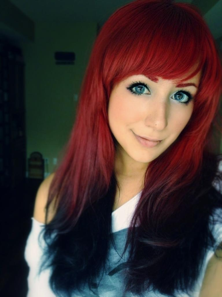 Most Up To Date Bright Red Medium Hairstyles Pertaining To Long, Red Ombre Hairstyle With Black Endings And Side Swept Fringe (View 14 of 20)