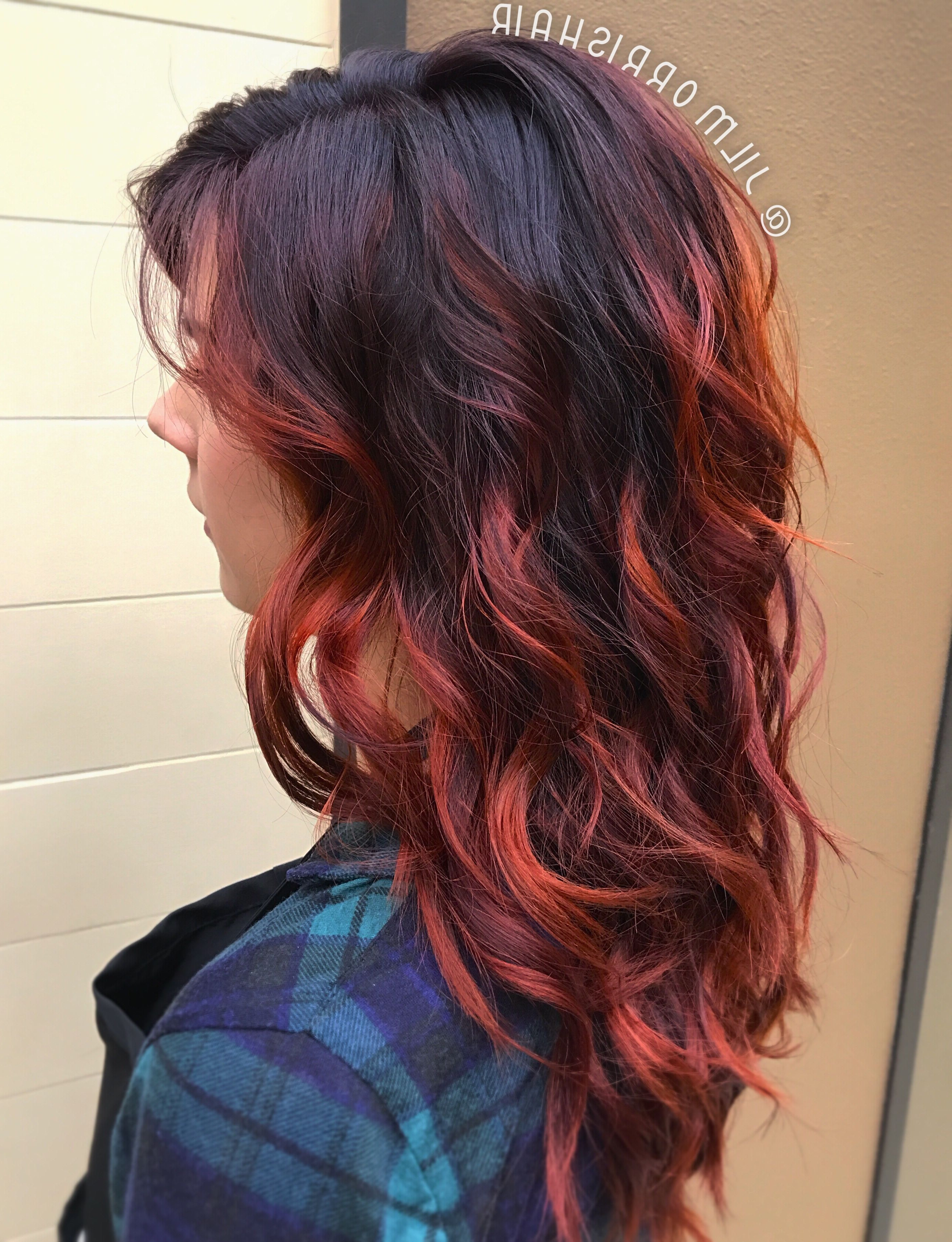 Most Up To Date Fire Red Medium Hairstyles Throughout Fiery Red Fall Hair, Balayage Highlights, Violet Red & Copper, Curls (View 18 of 20)