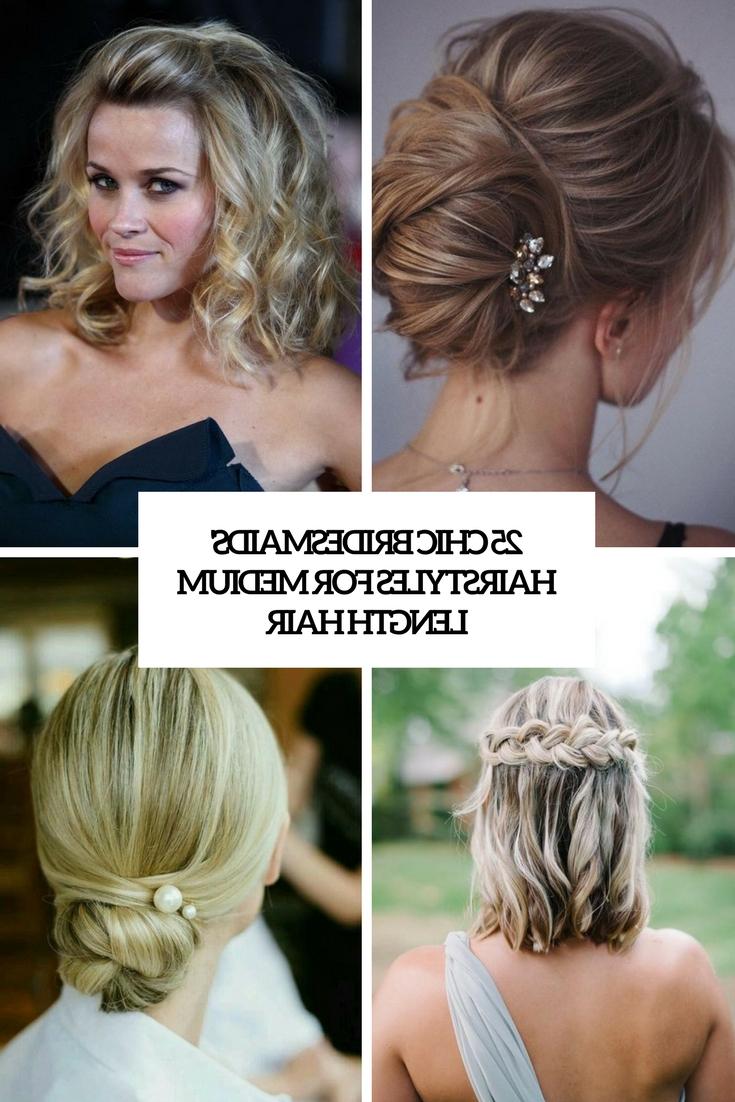 Most Up To Date Medium Hairstyles Bridesmaids Intended For 25 Chic Bridesmaids' Hairstyles For Medium Length Hair – Weddingomania (View 2 of 20)