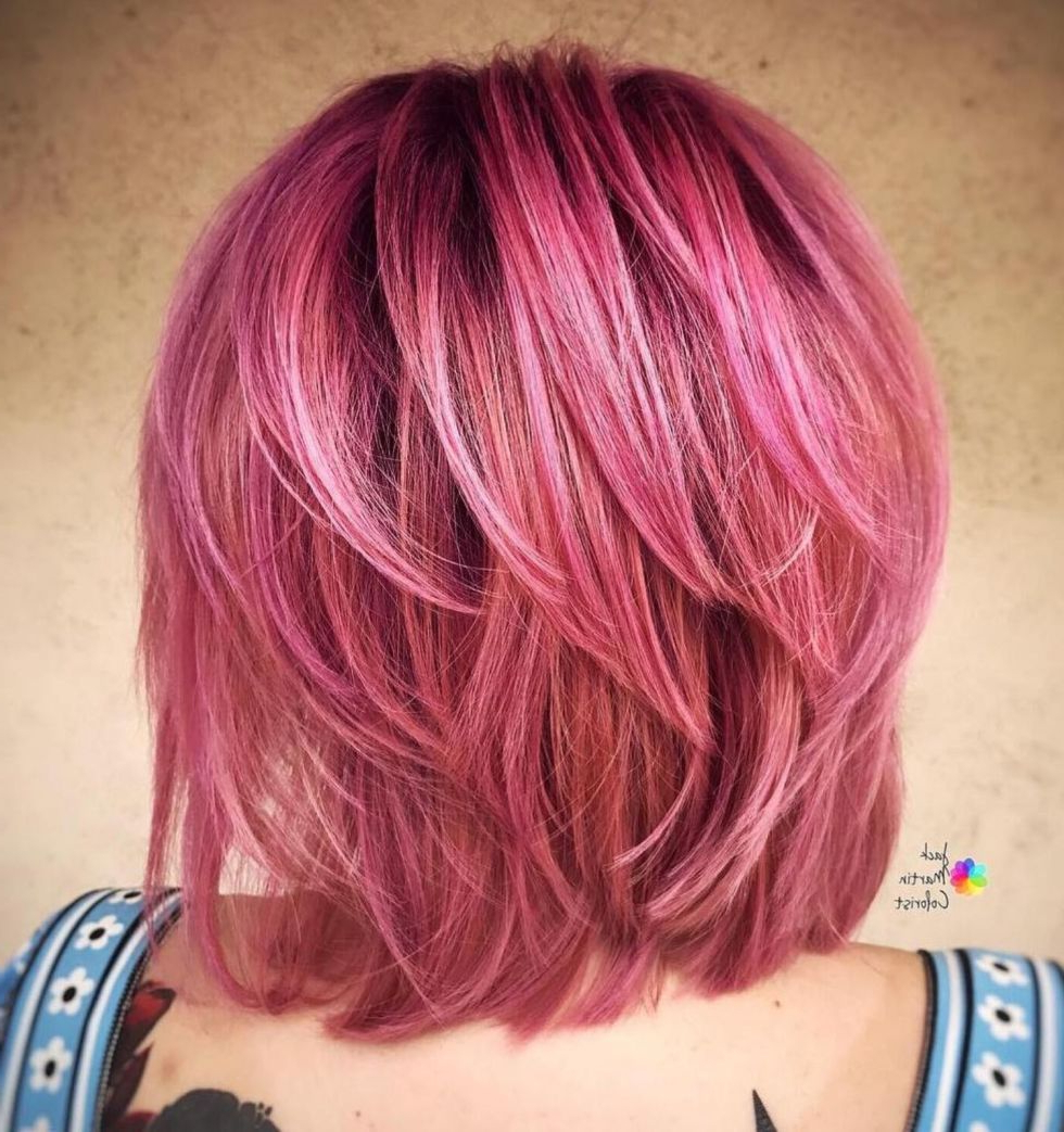Most Up To Date Pink Medium Hairstyles For 60 Inspiring Long Bob Hairstyles And Haircuts (View 14 of 20)