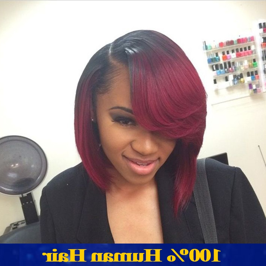 Most Up To Date Red And Black Medium Hairstyles Intended For Bob Full Lace Human Hair Wigs For Black Women Red Ombre Lace Front (View 13 of 20)