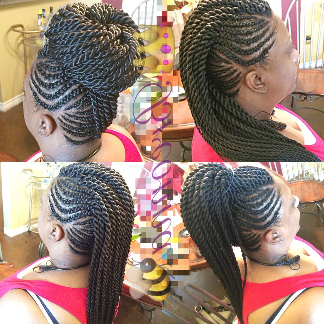 Needle Point Braids // Ghana Braids Mohawk With Senegalese Twist In Regarding Most Current Braids And Twists Fauxhawk Hairstyles (View 16 of 20)