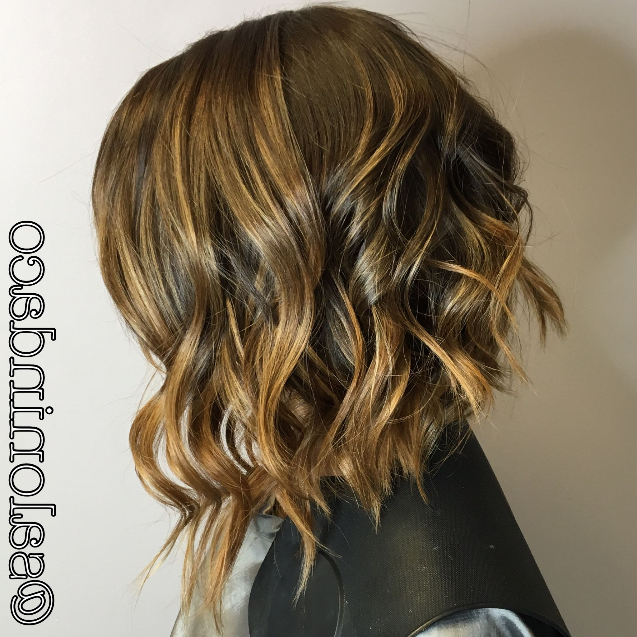 Newest Asymmetrical Medium Haircuts In Swing Bob Cut Balayage Ombré Caramel Highlights With Chocolate Brown (View 13 of 20)