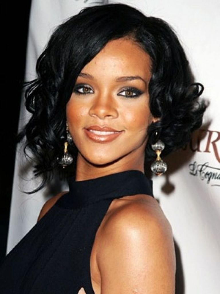 Newest Medium Haircuts Black Women Throughout Rihanna Medium Haircut Medium Hairstyles For Black Women Hairstyles (View 13 of 20)