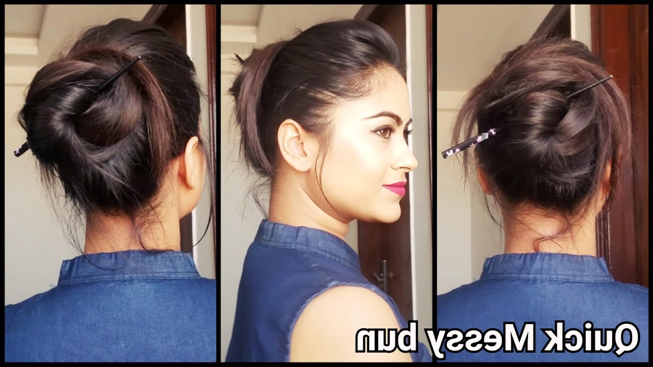 Newest Medium Hairstyles With Bobby Pins Inside Quick&easy Messy Bun Hairstyle Without Pins & Rubber Band//indian (View 9 of 20)