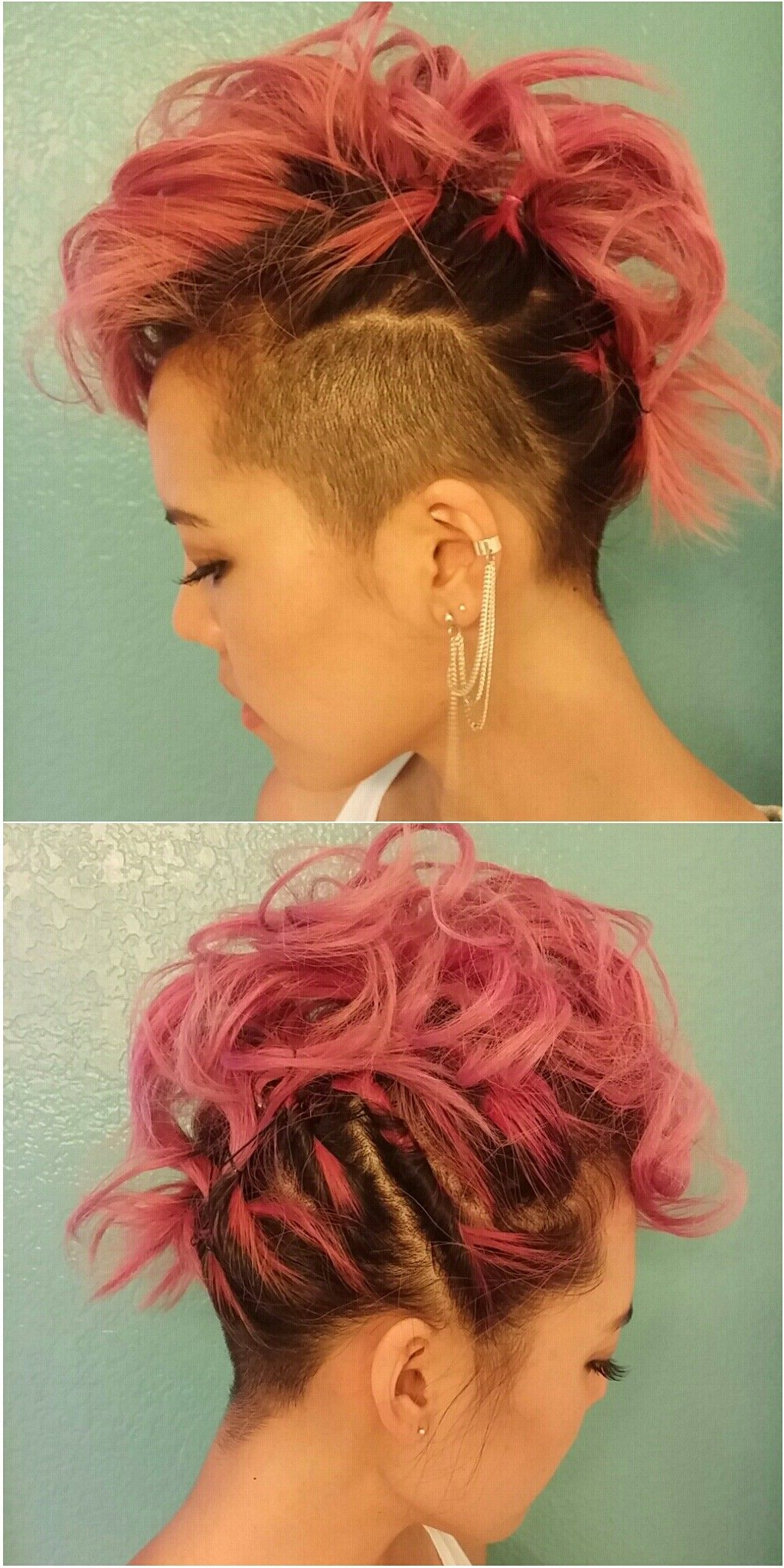 Pink Curled Mohawk/faux Hawk With Shaved Side And Undercut (View 16 of 20)