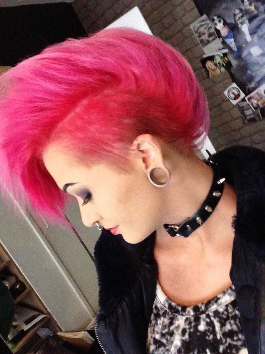 Pink Mohawk , Punks Not Dead , Black Spiked Choker (View 15 of 20)