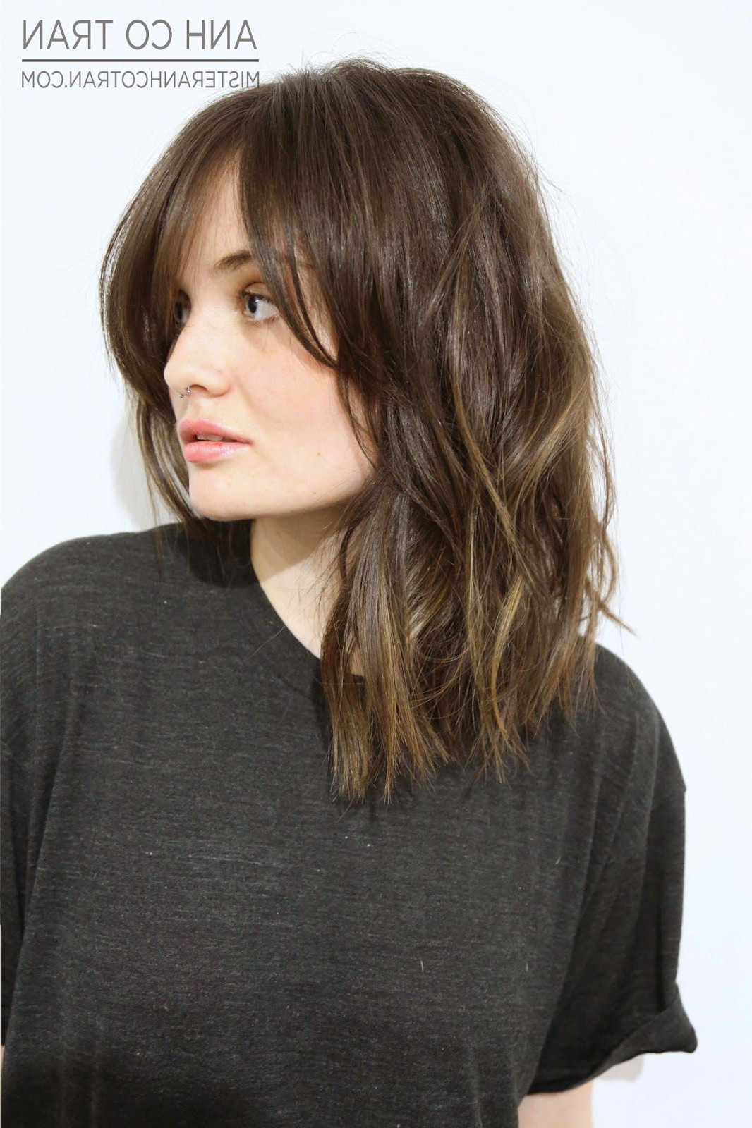 Pinterest Regarding Most Popular Medium Haircuts With Swoop Bangs (View 17 of 20)