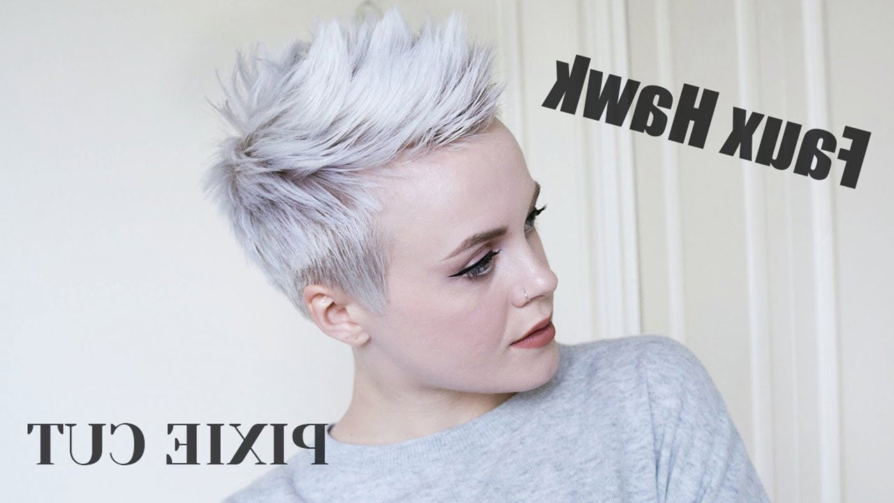 Pixie Cut Faux Hawk Tutorial / Easy + Drugstore Products – Youtube Inside Famous Platinum Fauxhawk Haircuts (View 13 of 20)
