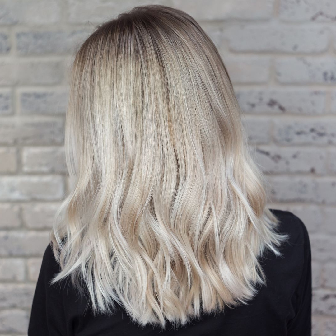 Platinum Blonde Back Side View Of Ombre For Medium Length Throughout Most Popular Platinum Layered Side Part Hairstyles (View 10 of 20)
