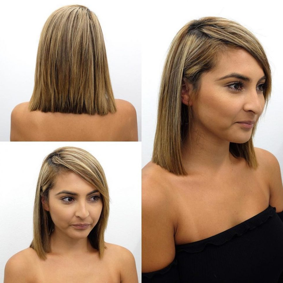 Popular Medium Haircuts With Side Swept Bangs Pertaining To Women Hairstyle : Womens Blunt Shoulder Length Bob With Side Swept (View 14 of 20)