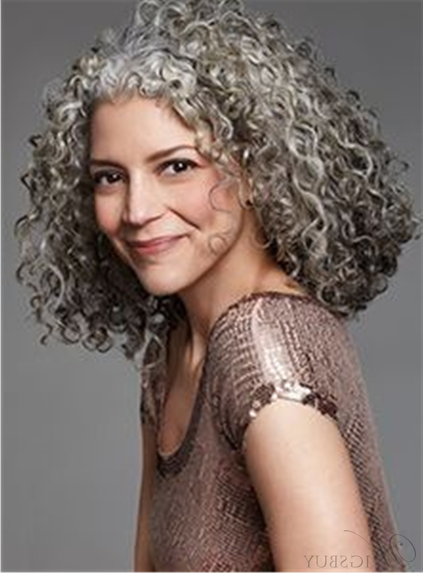 Popular Medium Hairstyles For Salt And Pepper Hair With Regard To Salt And Pepper Hair Medium Length Human Hair Lace Front Curly Wigs (View 18 of 20)