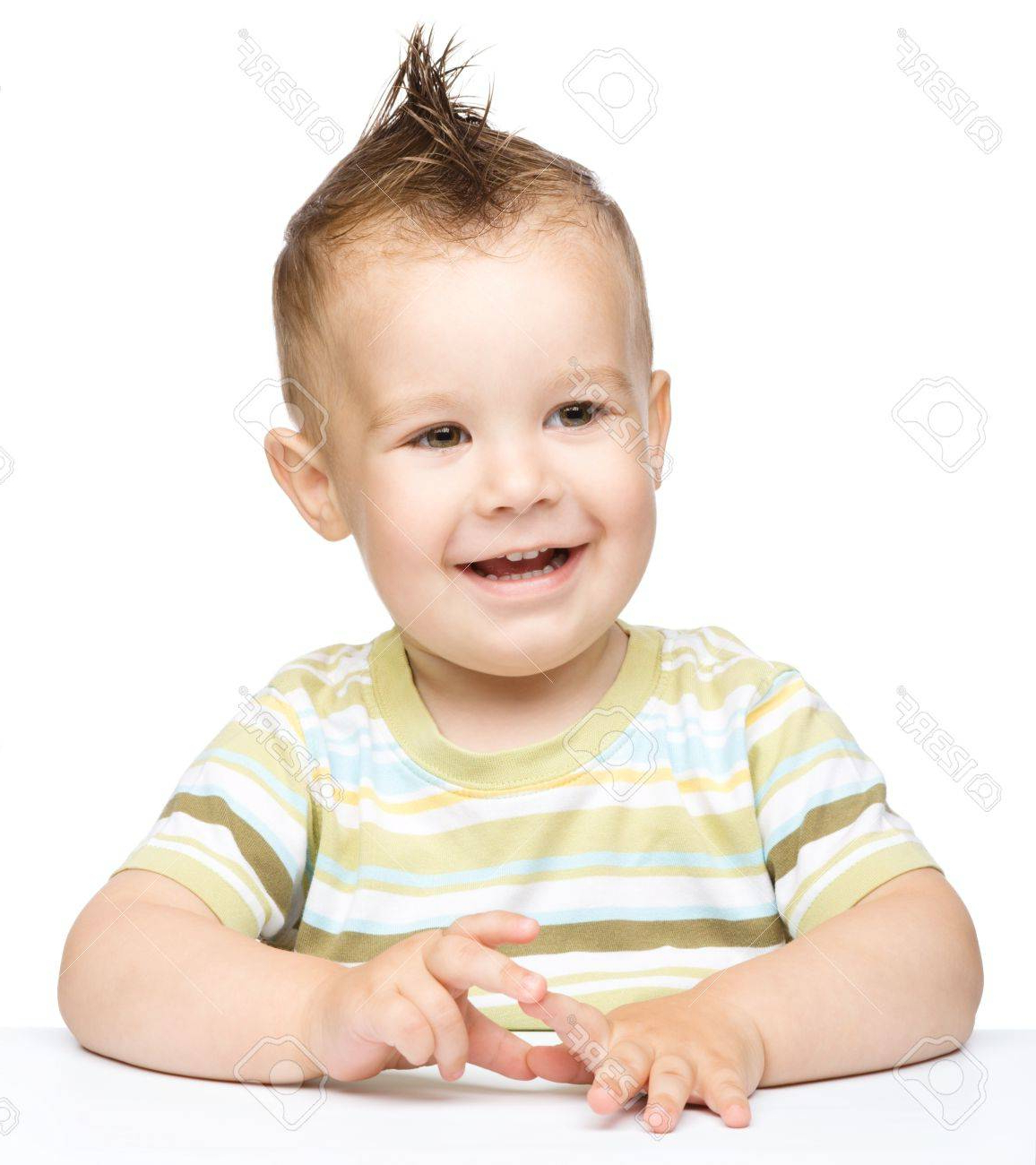 Portrait Of A Cute Cheerful Little Boy With Mohawk Hairstyle With Regard To Most Up To Date Innocent And Sweet Mohawk Hairstyles (View 19 of 20)