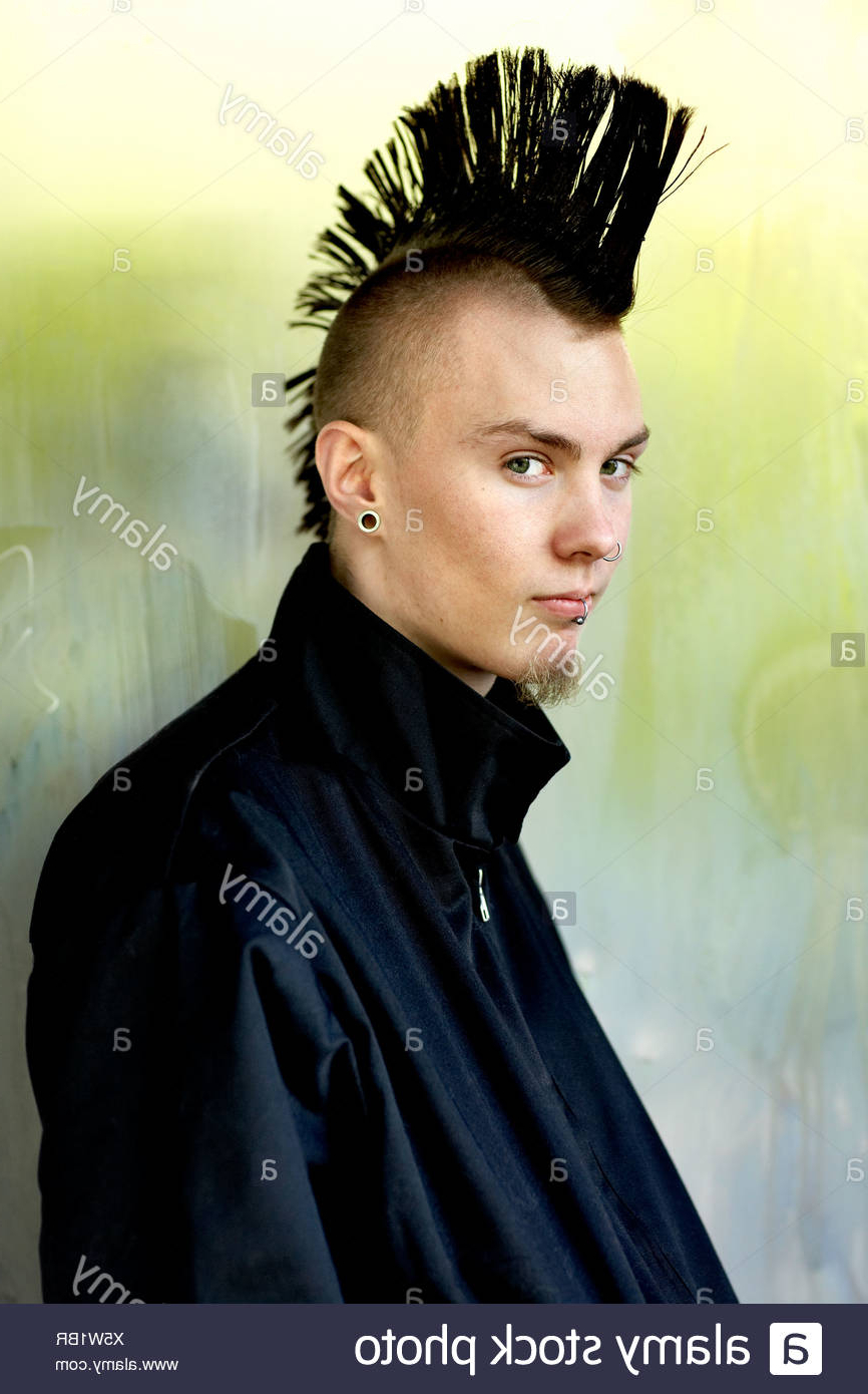 Portrait Of Young Man With Mohawk Hairstyle Stock Photos & Portrait Intended For Preferred Work Of Art Mohawk Hairstyles (View 16 of 20)
