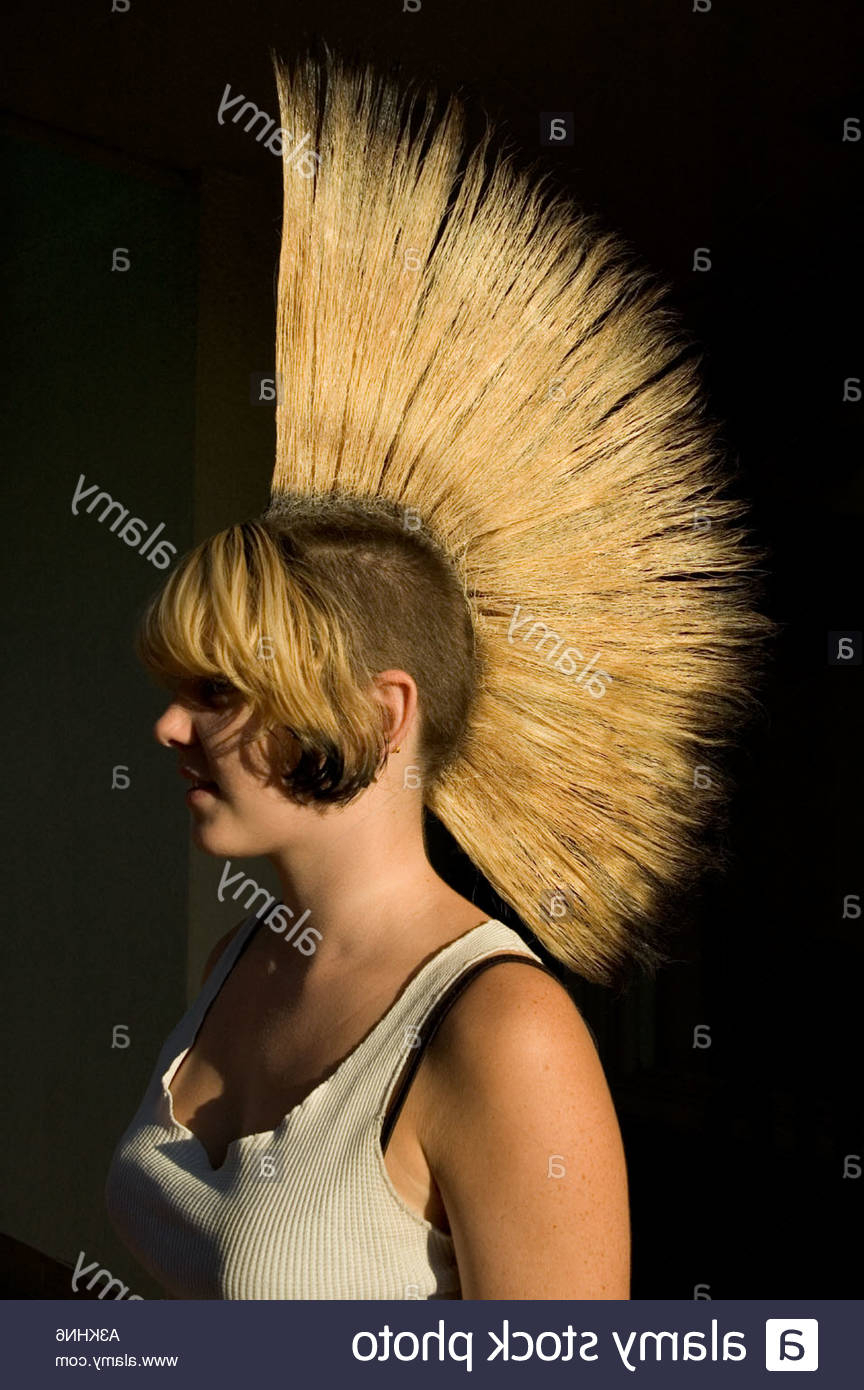 Preferred Blonde Mohawk Hairstyles Regarding Young Punk Girl With Blonde Mohawk Hairstyle Eugene Oregon Usa Stock (View 15 of 20)
