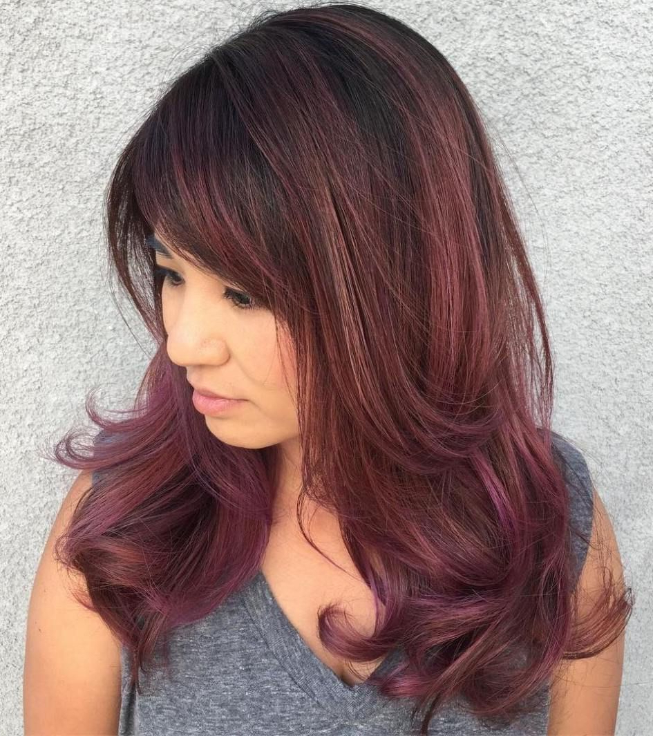 Preferred Burgundy Medium Hairstyles Throughout 50 Cute And Effortless Long Layered Haircuts With Bangs (View 14 of 20)