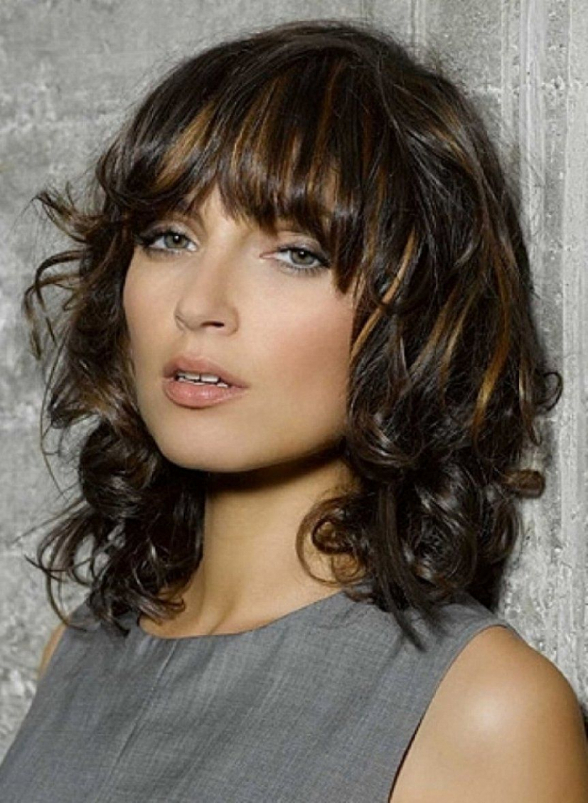 Preferred Curly Medium Hairstyles With Bangs Inside Image Result For Caramel Highlights On Dark Brown Curly Hair Medium (View 16 of 20)