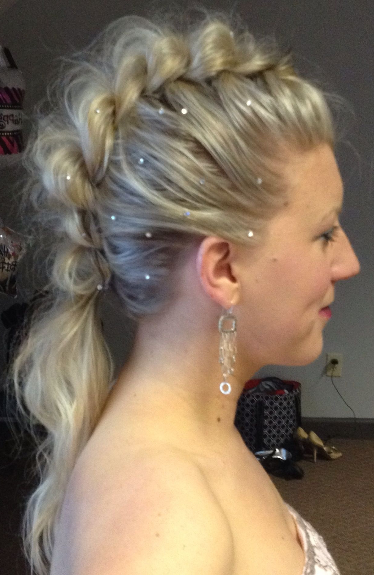 Preferred Glamorous Mohawk Updo Hairstyles Regarding Mohawk Braid With Swarovski Crystals, Little Glam Little Edge (View 18 of 20)