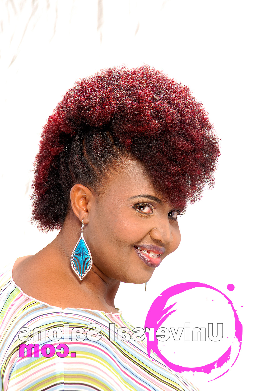 Preferred Unique Color Mohawk Hairstyles Intended For Natural Mohawk With Plumb Ombre Color From Kenya Young (View 13 of 20)
