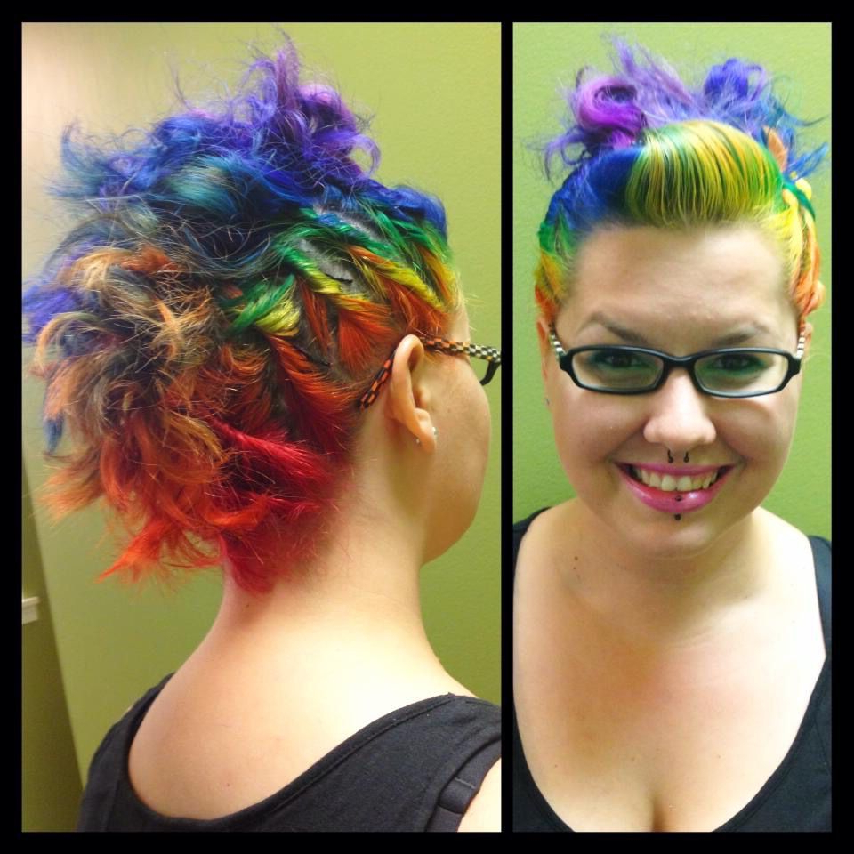 Rainbow Hair Color. Mohawk. Bright Hair (View 16 of 20)