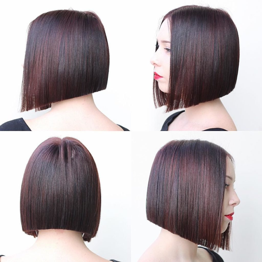 Recent Medium Angled Purple Bob Hairstyles Within Women's Modern Blunt Angled Bob With Brunette Color And Burgundy (View 12 of 20)