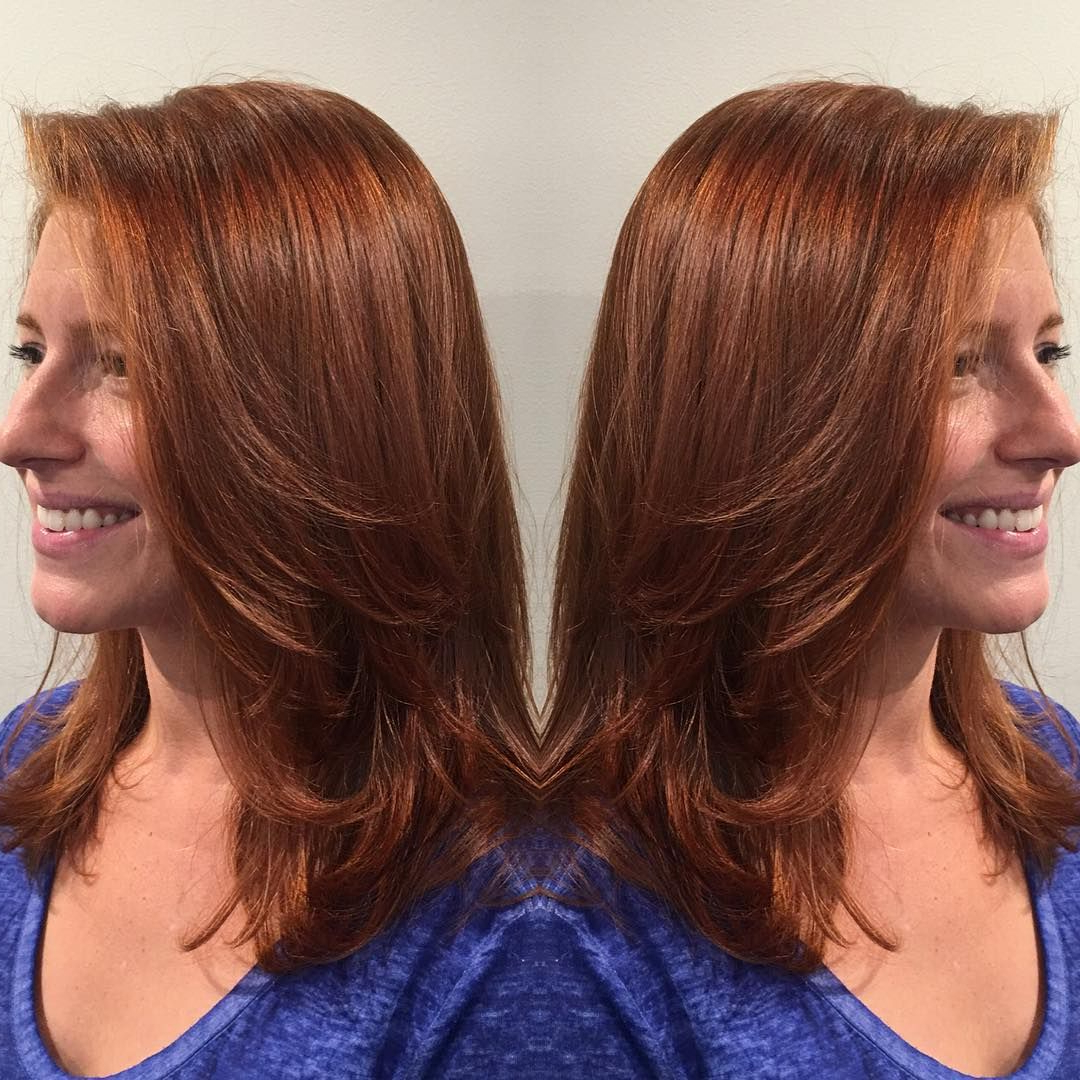 Recent Medium Hairstyles With Red Hair Intended For Straight+Layered+Shoulder+Length+Red+Hair (Gallery 20 of 20)