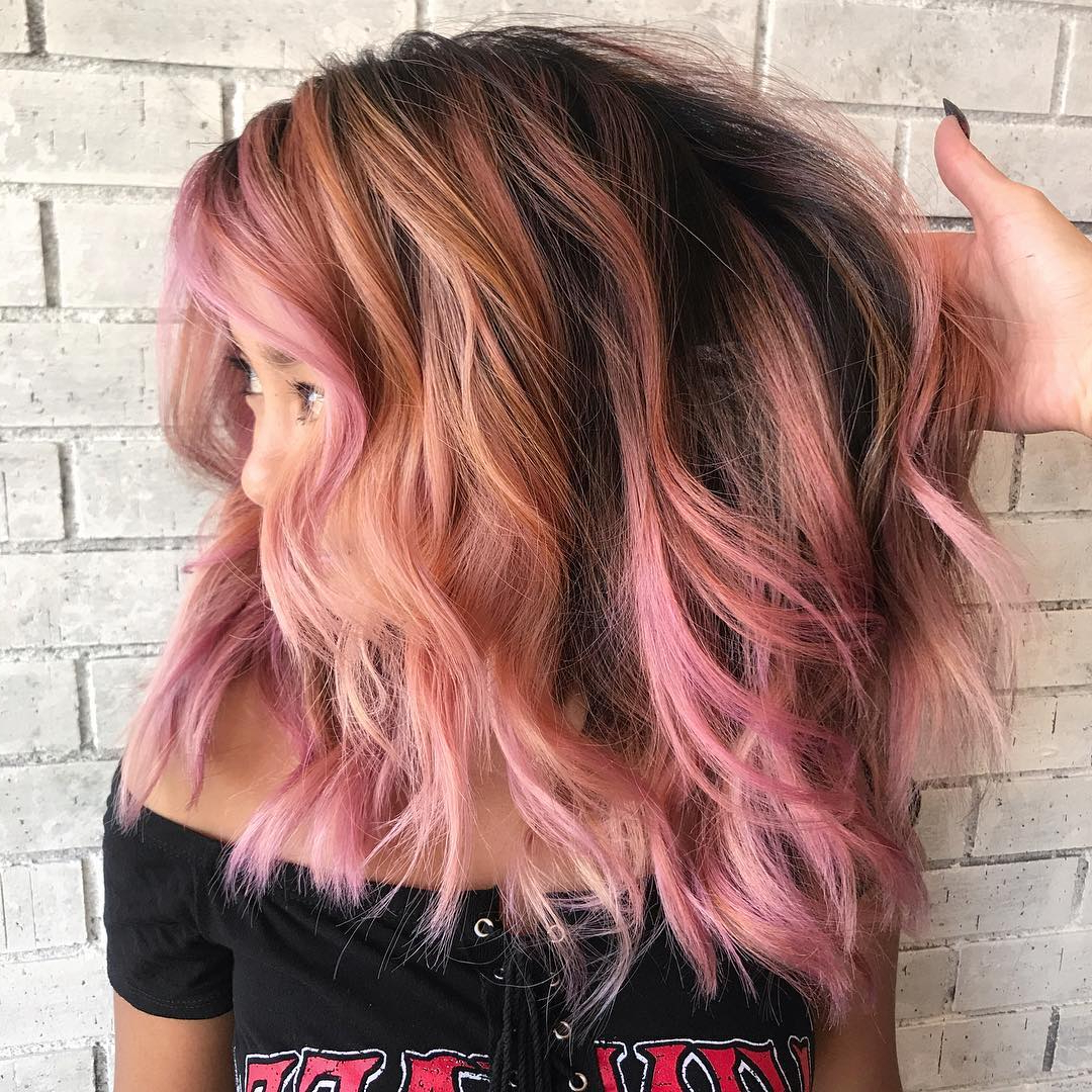 Recent Pink Medium Hairstyles Inside 10 Wavy Shoulder Length Hairstyles  (View 17 of 20)