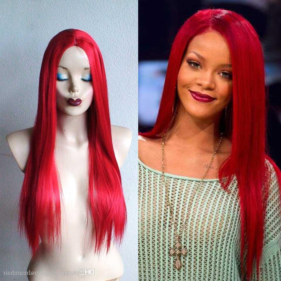 Rihanna Hairstyles Long Red Wig Silky Straight Long Human Hair Lace Intended For Most Popular Bright Red Medium Hairstyles (Gallery 6 of 20)