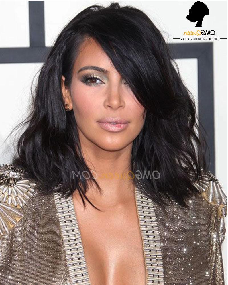 Sexy Kim Kardashian Haircut Bob Lace Wigs Virgin Brazilian Hair Intended For Recent Kim Kardashian Medium Haircuts (View 18 of 20)