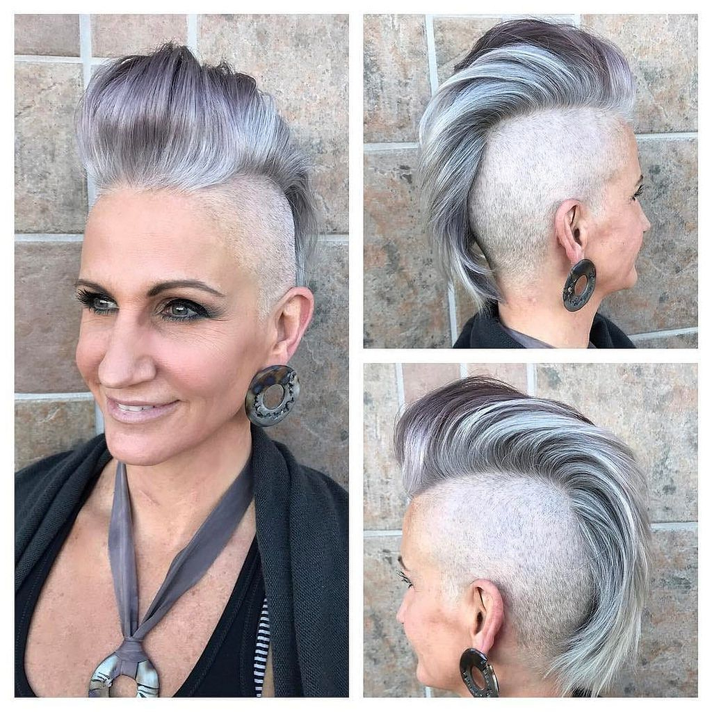 Silver And Grey Faux Hawk Pixie Cut With Pompadour And Throughout Recent Punk Rock Princess Faux Hawk Hairstyles (Gallery 16 of 20)