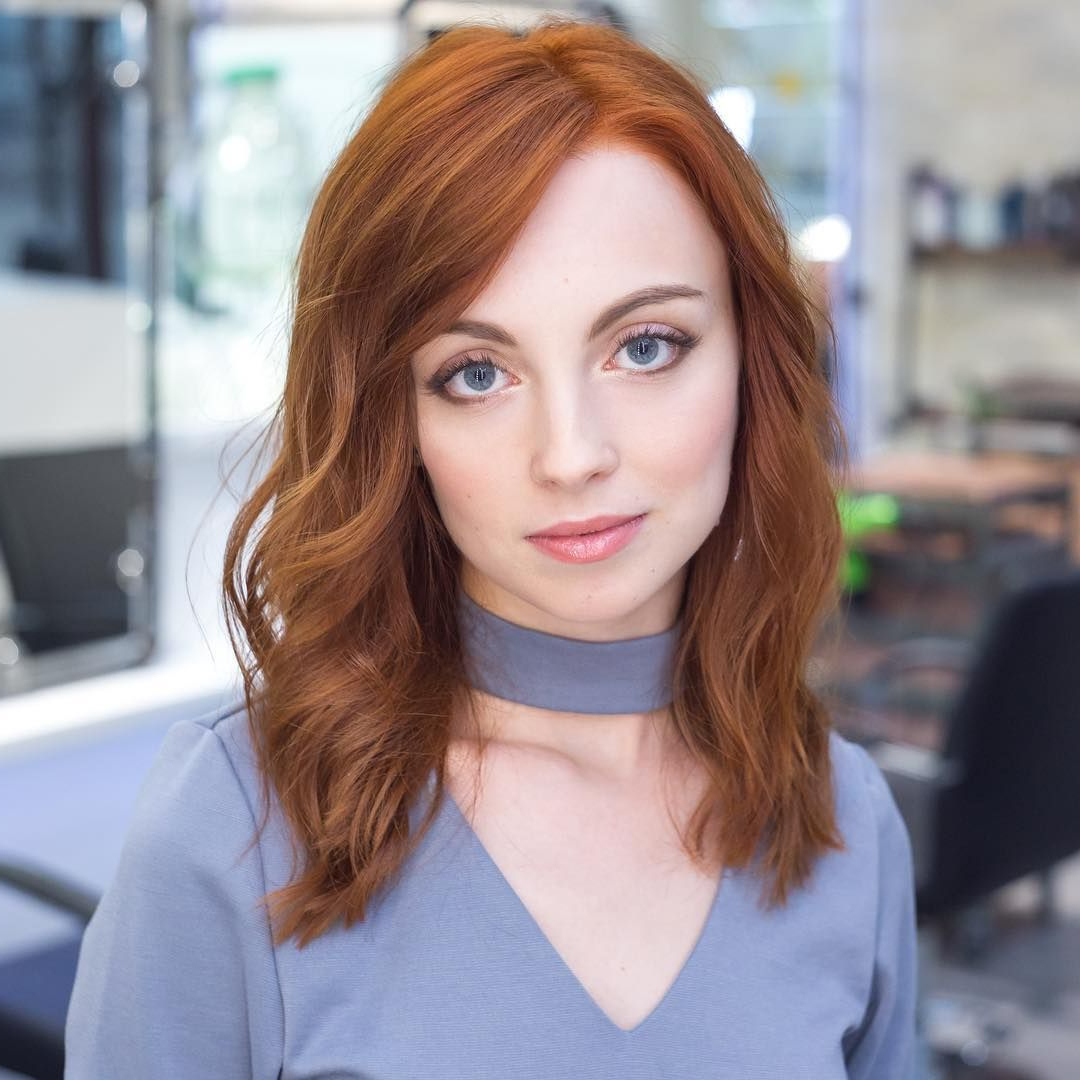 Soft Curly Hairstyle For Ginger Hair Medium Length (Gallery 5 of 20)