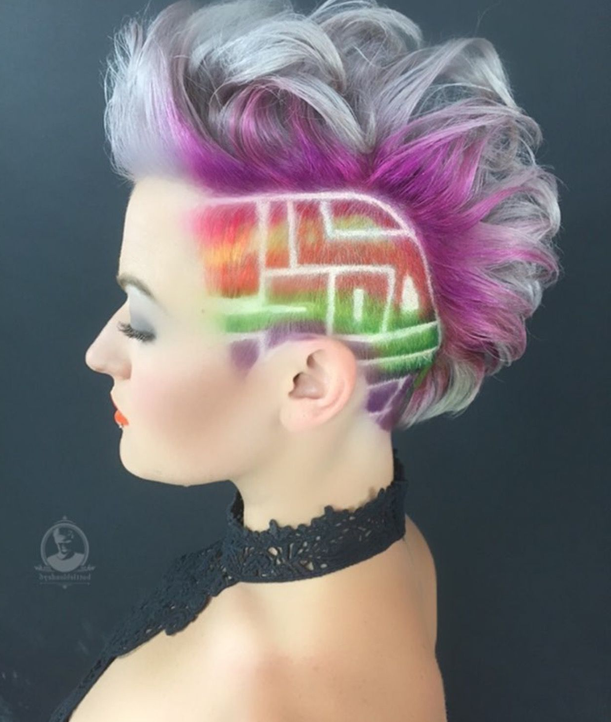 Square Maze Undercut And Rainbow Hair Color Idea For Short Hair Within Well Known Platinum Mohawk Hairstyles With Geometric Designs (Gallery 10 of 20)