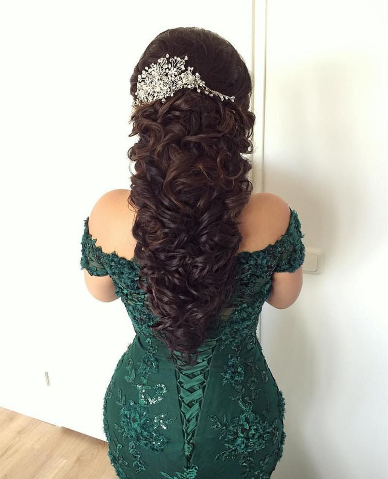 Stylish Lace Mermaid Evening Dresses Off The Shoulder Prom Gowns Pertaining To Recent Medium Hairstyles For Evening Wear (View 18 of 20)