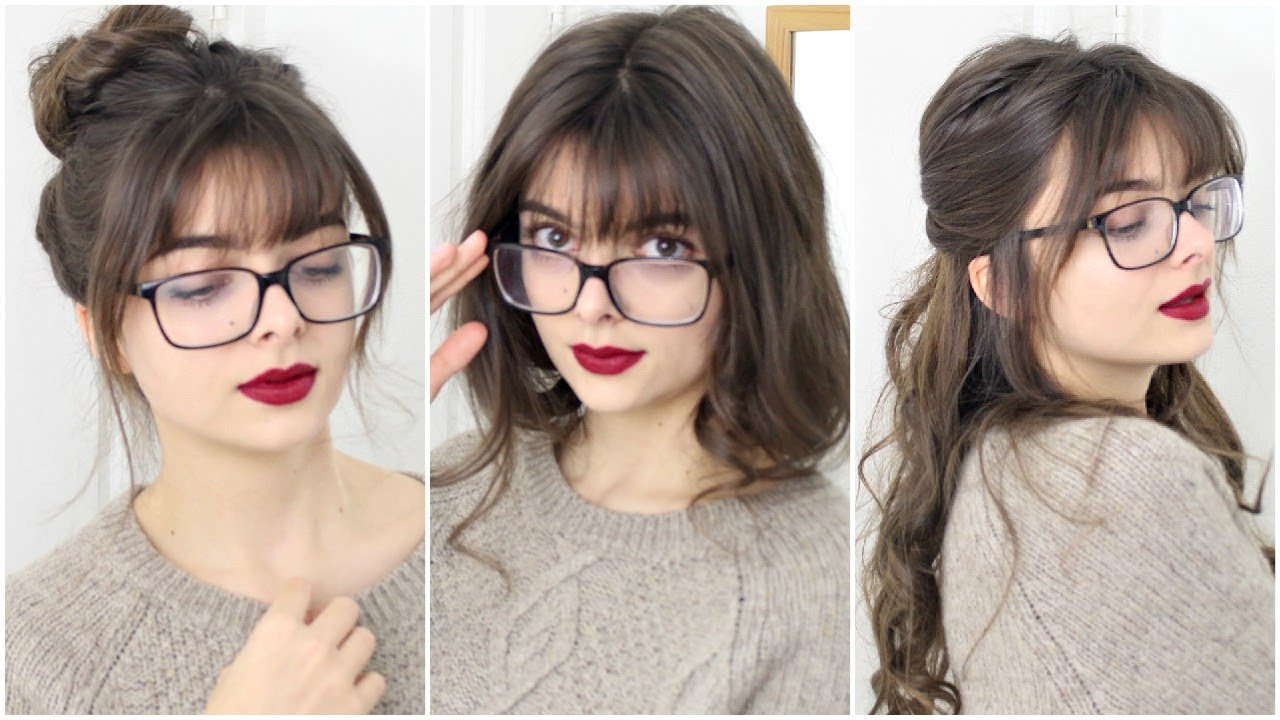 Super Easy & Cute Hairstyles For Bangs + Glasses – Youtube With Well Liked Medium Haircuts With Bangs And Glasses (View 9 of 20)