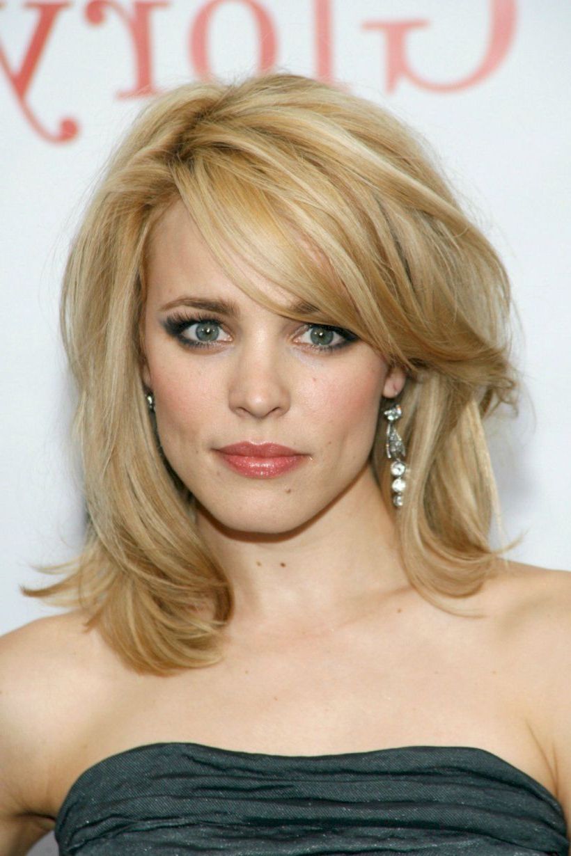 Trendy Medium Hairstyles Side Swept Bangs With Regard To 54 Best Wavy Hairstyle With Fringe Or Bangs (View 17 of 20)