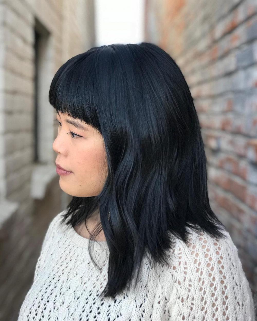 Trendy Medium Hairstyles With Blunt Bangs In 53 Popular Medium Length Hairstyles With Bangs In  (View 10 of 20)