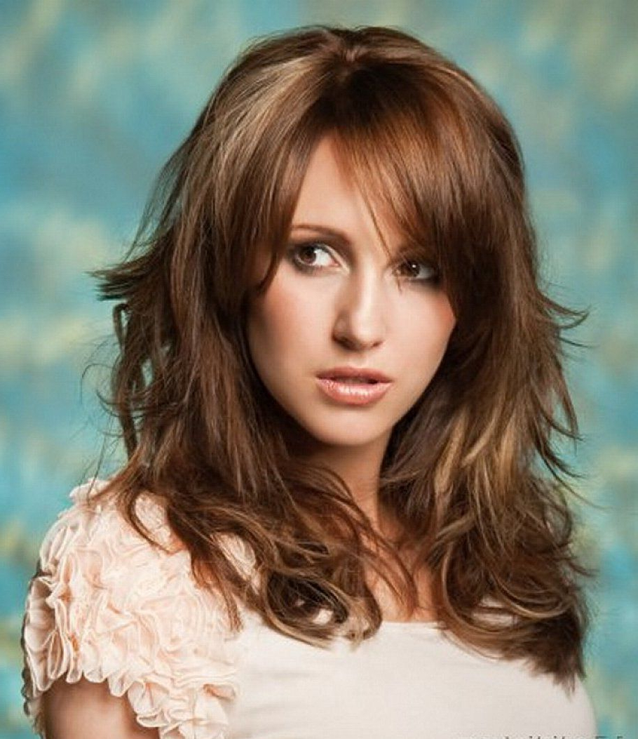 Trendy Mid Length Haircuts With Curled Layers Intended For Wavy Hairstyles With Bangs (View 13 of 20)