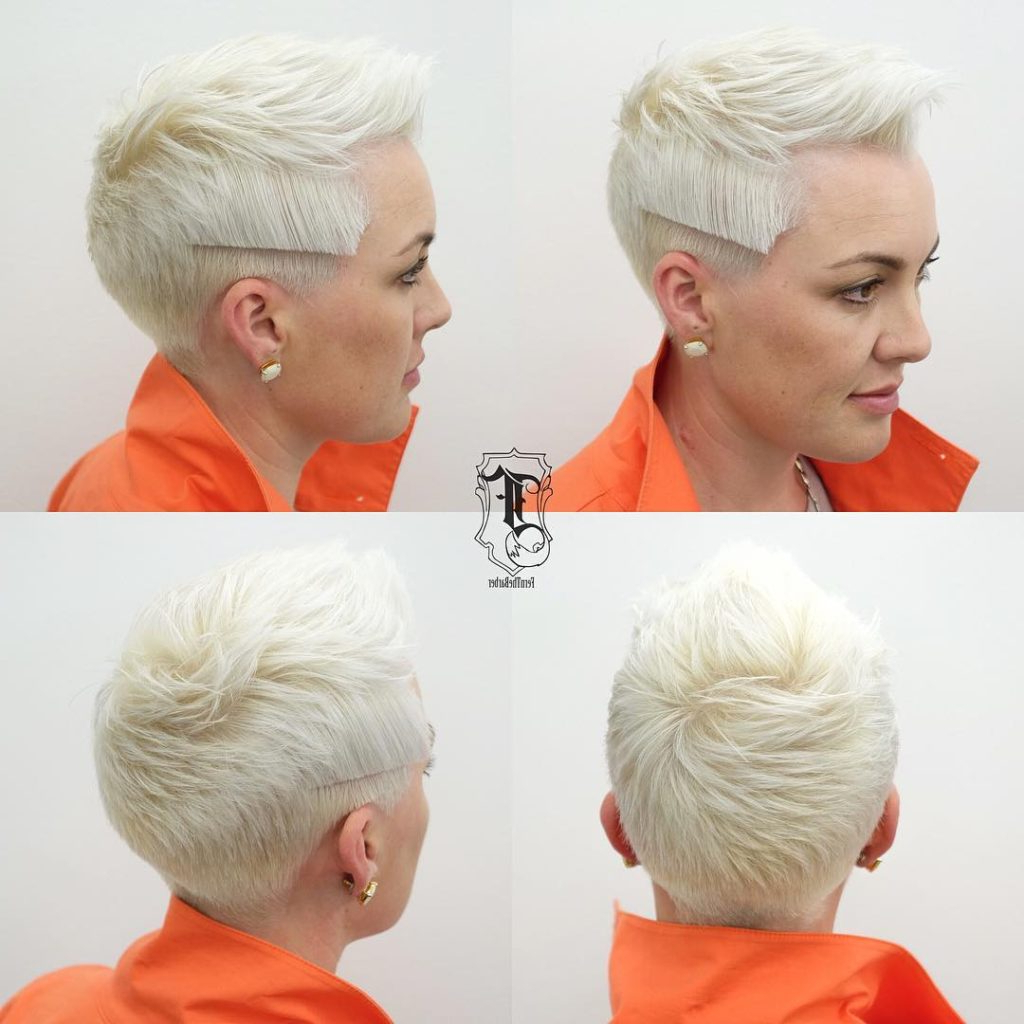 Trendy Platinum Fauxhawk Haircuts With Women's Modern Platinum Textured Pixie With Brushed Up Lengths And (View 19 of 20)