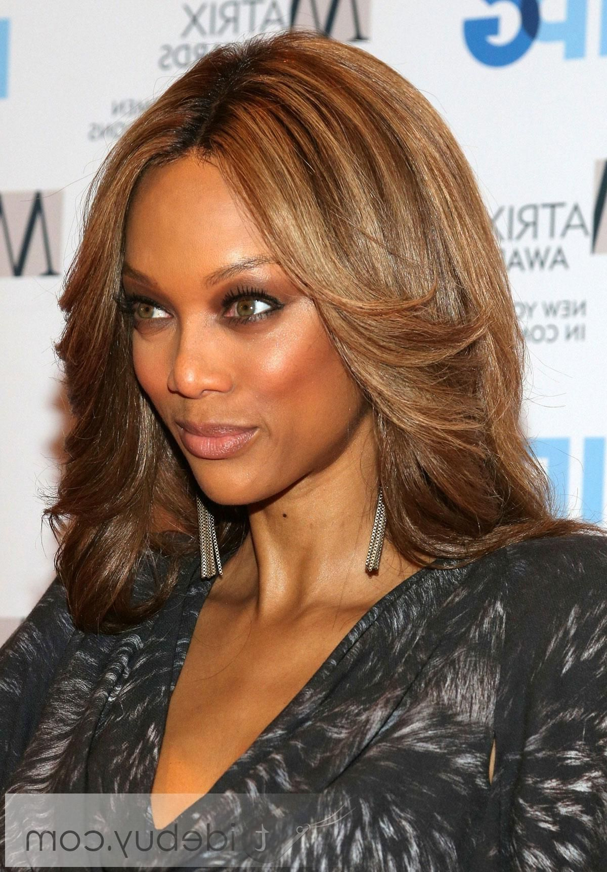 Tyra Banks Amazing Hairstyle Medium Straight Light Auburn Full Lace Within Most Up To Date Tyra Banks Medium Hairstyles (View 17 of 20)