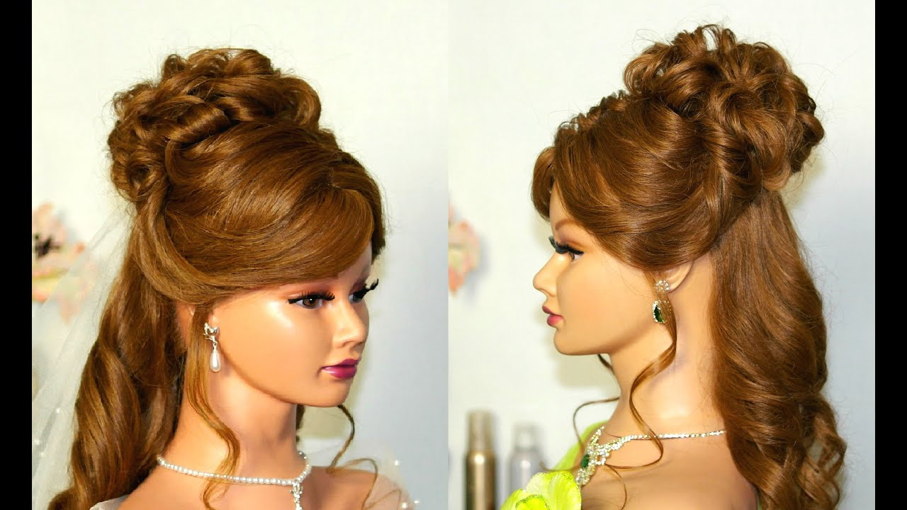 Wedding Hairstyle For Medium Long Hair: Curly Half Up Half Down For Well Known Half Up Half Down Medium Hairstyles (View 17 of 20)