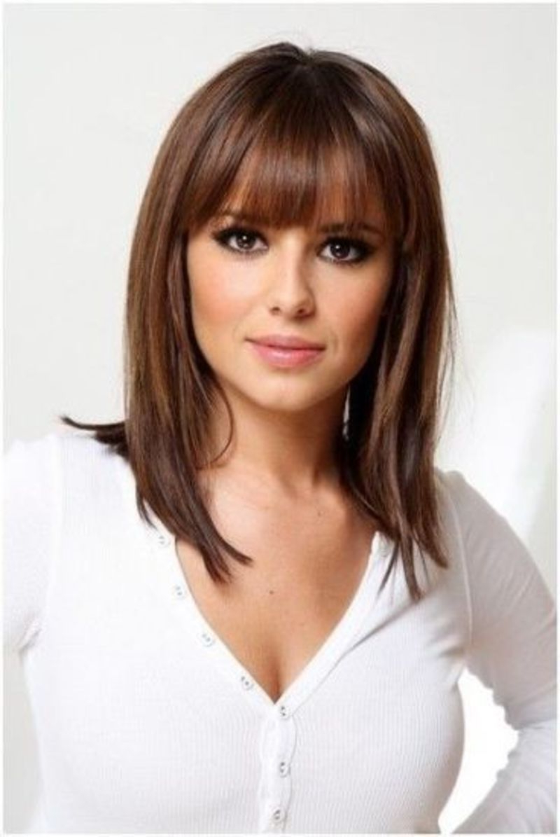 Well Known Bang Medium Hairstyles Within The Blunt Bangs With Shoulder Length Hair Hairstyle – Top 9 Easy (View 8 of 20)