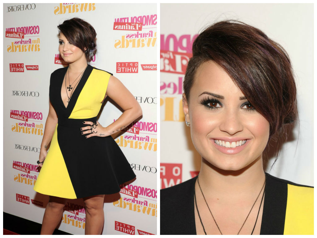 Well Known Demi Lovato Medium Haircuts Pertaining To Demi Lovato's Hair With A Shaved Side – Hair World Magazine (View 19 of 20)