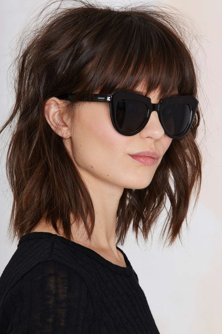 Well Known Fringe Medium Hairstyles Throughout Nice Haircut Mystery Lady Perfect Because It Shows It With Glasses (View 19 of 20)
