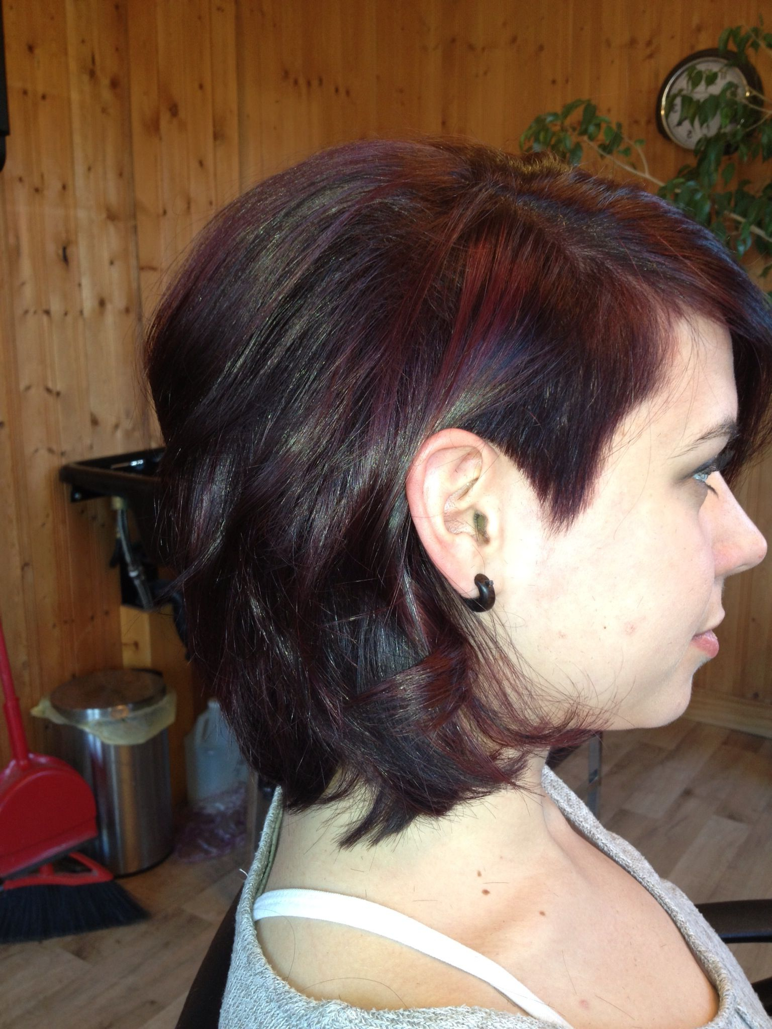 Well Known Medium Haircuts With One Side Shaved In Violet /red Color With One Side Shaved In And Asymmetrical Cut On My (View 19 of 20)
