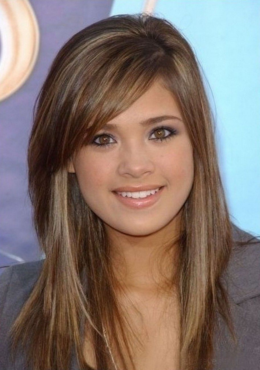 Well Known Medium Haircuts With Side Bangs In Layered Medium Haircuts With Side Swept Bangs (View 7 of 20)