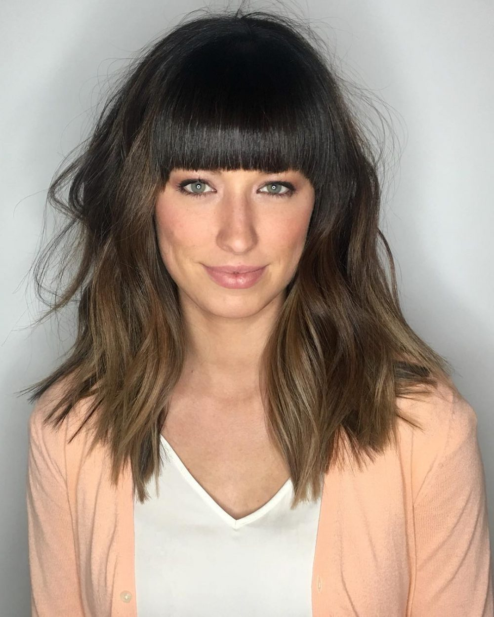 Well Known Medium Hairstyles With Blunt Bangs Intended For 53 Popular Medium Length Hairstyles With Bangs In  (View 17 of 20)