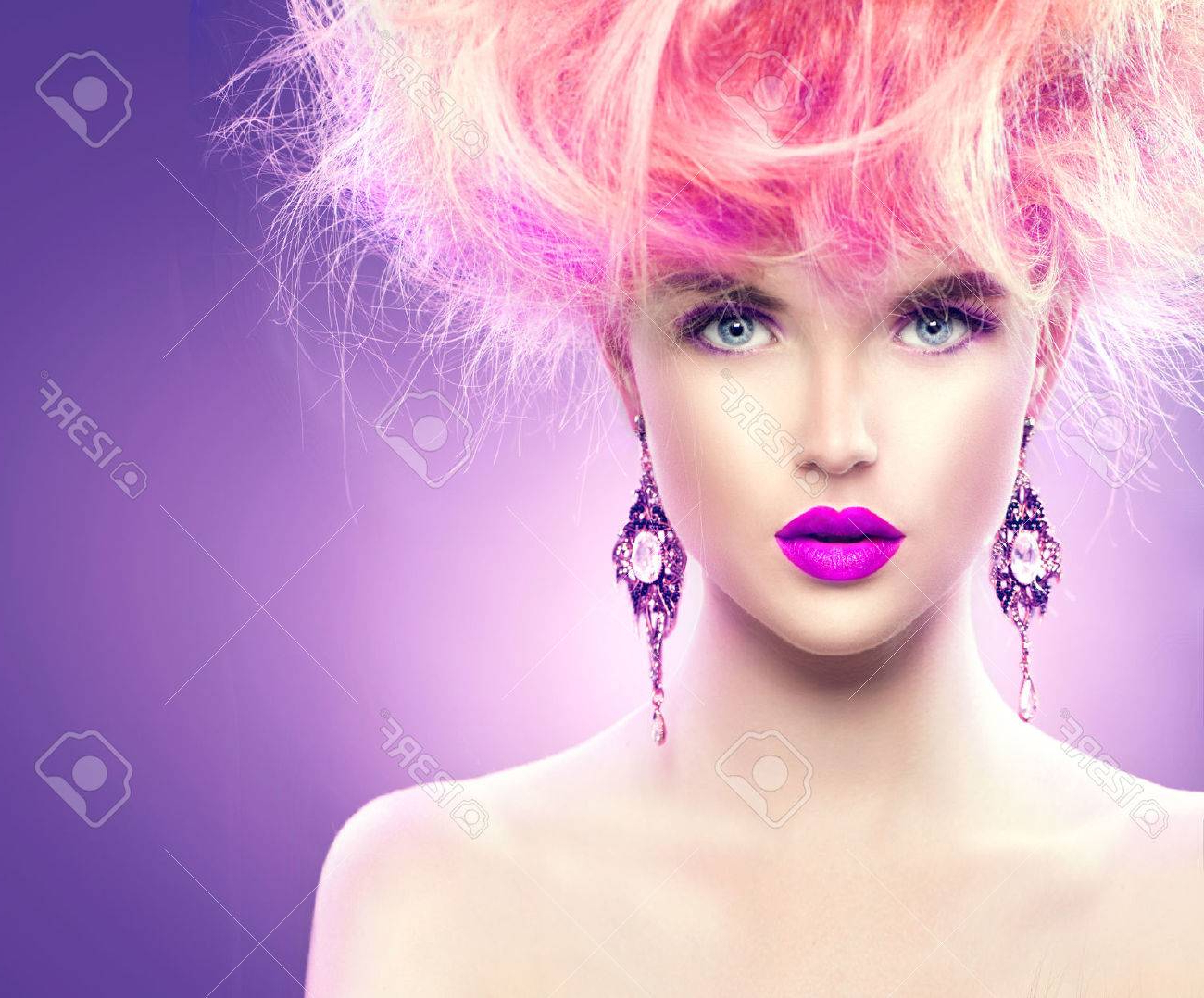 Well Known Pink And Purple Mohawk Hairstyles Within Mohawk Hairstyle Stock Photos (View 19 of 20)