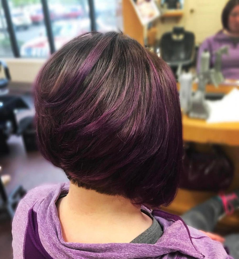 Well Known Purple And Black Medium Hairstyles Pertaining To 33 Hottest A Line Bob Haircuts You'll Want To Try In  (View 18 of 20)