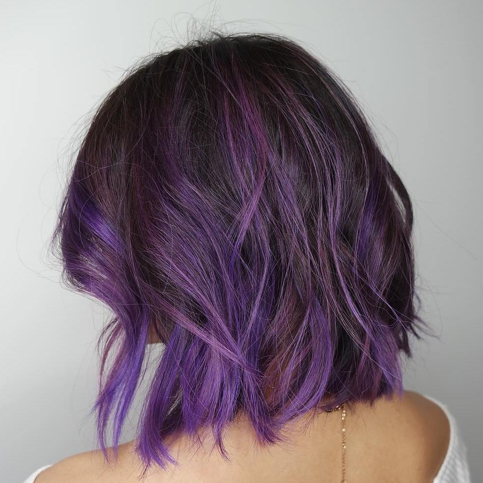 Well Known Purple And Black Medium Hairstyles Regarding 20 Purple Balayage Ideas From Subtle To Vibrant (View 4 of 20)
